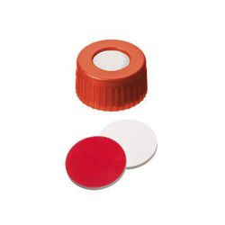 Vials, Screw Cap & Septa Only, Silicone White/PTFE Red, 45° shore A, 1.3mm, 100/pk