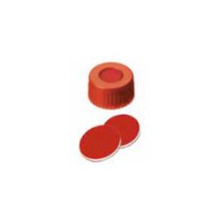 Vials, Screw Cap & Septa Only, PTFE Red/Silicone White/PTFE Red, 45° shore A, 1.0mm slit, 100/pk