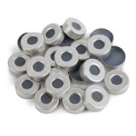 Aluminum Seal w/Septa 20mm Alum. Silver w/PTFE Gray Butyl Rub Septa 100PK
